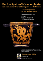 Poster (featuring vase depicting the myth of Actaeon) for The Ambguity of Metamorphosis: from Homer and Ovid to Shakepeare and du Maurier, a Valedictory Lecure by Prof. Richard Buxton