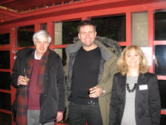 Richard G. A. Buxton after the Bristol 'What's in a Variant?' conference, with actor Sam Callis, and mythologist and novelist Mercedes Aguirre