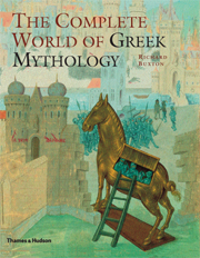 Book cover with Trojan Horse illustration: The Complete World of Greek Mythology