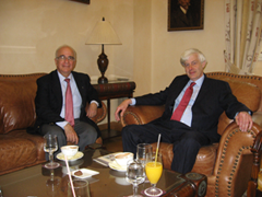 Richard G. A. Buxton in Athens, with Vassilis Lambrinoudakis, archaeologist and former President of the LIMC Foundation